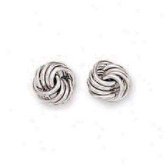 14k White Medium Loveknot Earrings