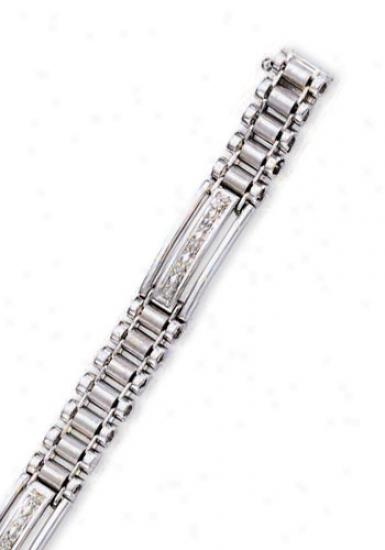 14k White Mens Diiamond Bracelet - 8.25 Inch
