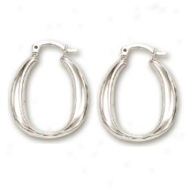 14k White Recent Hoop Earriings