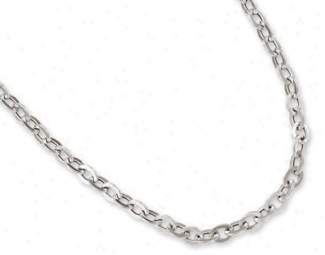 14k White Oval Connect Chain - 17 Inch