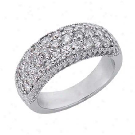 14k White Pave 1.49 Ct Diamond Band Ring