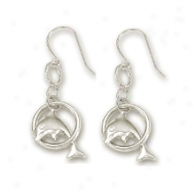 14k White Petite Dolphin Drop Earrings