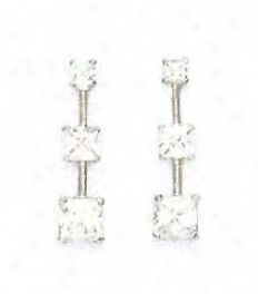14k White Piincess Cz Three-stone Post Earrings