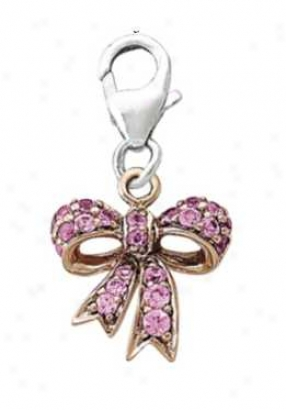14k White Pink Bow Plump 1.5 Mm Pink Sapphire Charm