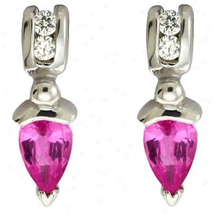 14k White Pink Sapphire And Diamond Earrings