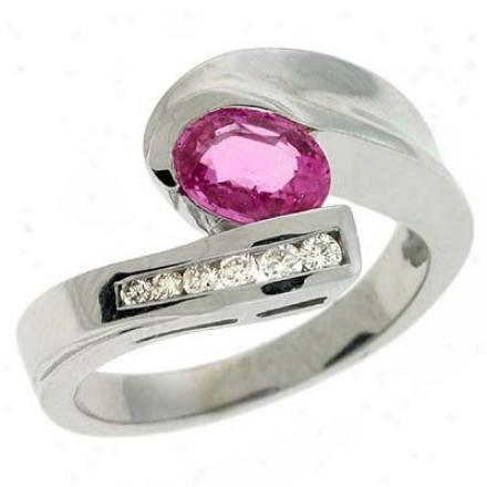 14k White Pink Sapphire And Diamond Riny
