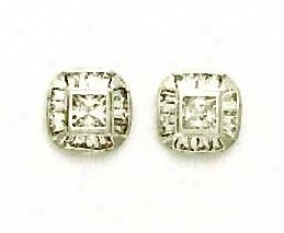14k White Princess And Baguette Cz Fancy Earrings