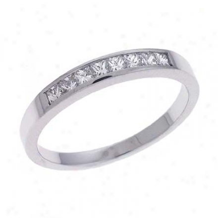 14k White Princess Cut 0.35 Ct Diamond Band Ring