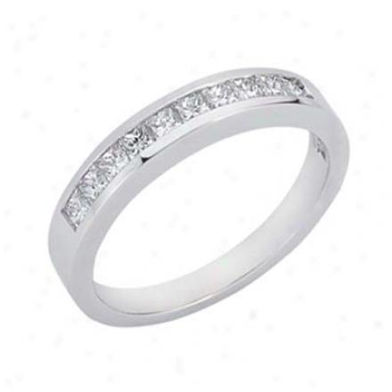 14k White Princess Cut 0.5 Ct Diamond Band Ring