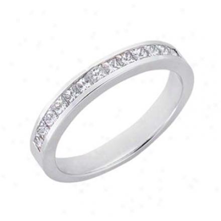 14k White Princess Cross 0.55 Ct Diamond Band Clique
