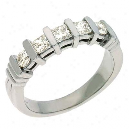14k White Princess Cut 0.66 Ct Diamond Engagement Band