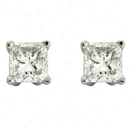 14k White Princess Cut 0.88 Ct Diamond Stud Earrings