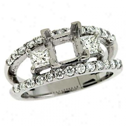 14k White Princess Cut 1.08 Ct Brilliant Engagemrnt Ring