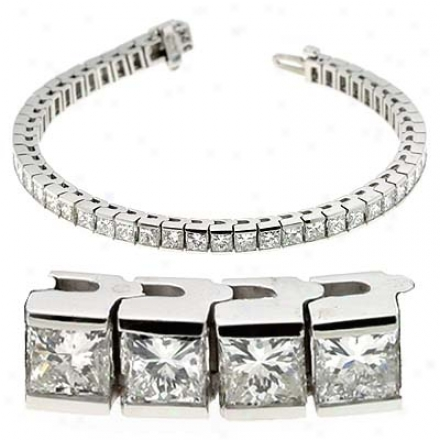 14k White Prjncess Cut 11 Ct Diamond Bracelet