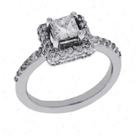 14k Pale Princess Cut 1.32 Ct Diamond Engagement Ring