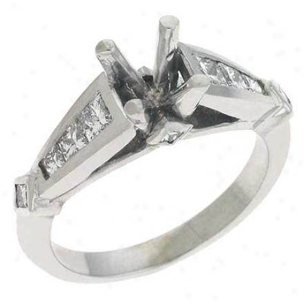 14k White Princess Cut Diamond Semi-mount Engagement Circle