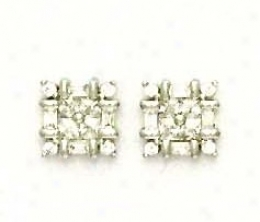 14k White Princess Round And Baguette Cz Caprice Earrings