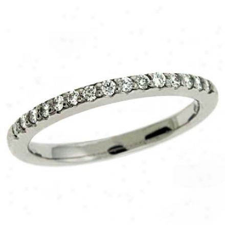 14k White Prong-set 0.23 Ct Diamond Band Ring