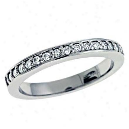 14k White Prong-set 0.27 Ct Diamond Band Ring