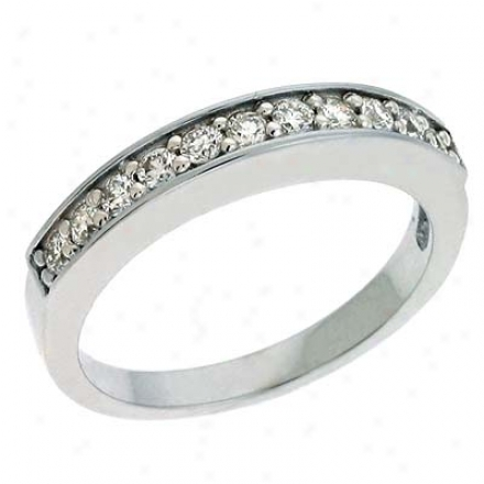 14k White Prong-set 0.36 Ct Diamond Band Riny