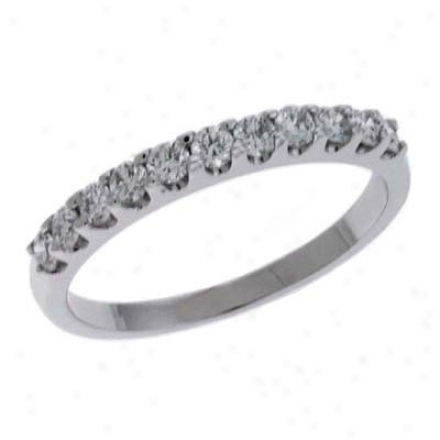 14k White Prong-set 0.47 Ct Rhombus Band Ring