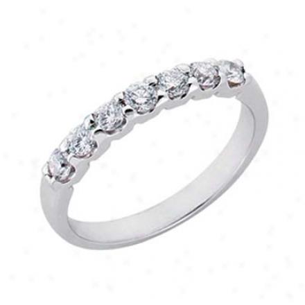 14k White Prong-set 0.54 Ct Diamond Band Ring