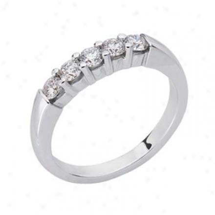 14k White Prong-set 0.57 Ct Diamond Band Ring