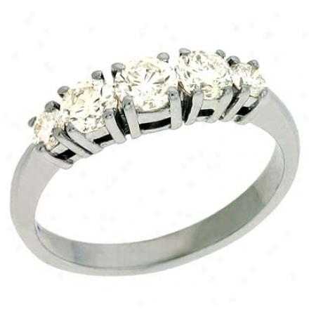 14k White Prong-set 0.88 Ct Diamond Band Rimg