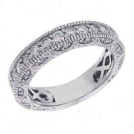 14k White Prong-set 1.23 Ct Diamond Engagement Band