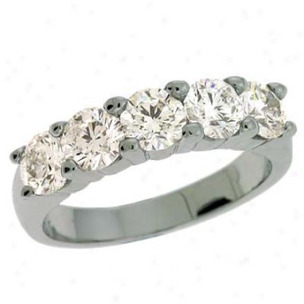 14k White Prong-set 1.75 Ct Diamond Band Ring