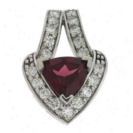 14k White Rhodolite And Diamond Pendant