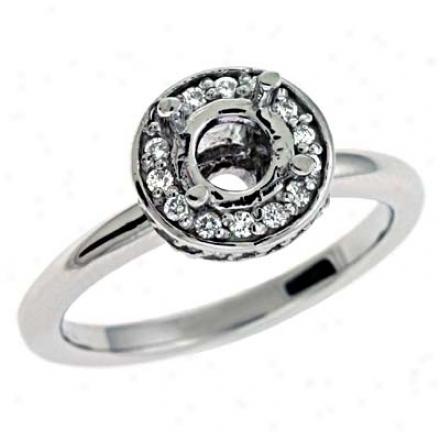 14k White Round 0.32 Ct Diamond Engagement Ring