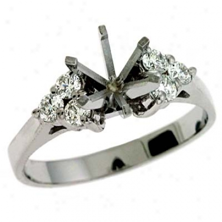 14k White Round 0.36 Ct Diamond Semi-mount Engagement Ring