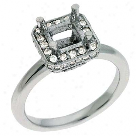 14k White Round 0.37 Ct Diamond Engagement Ring