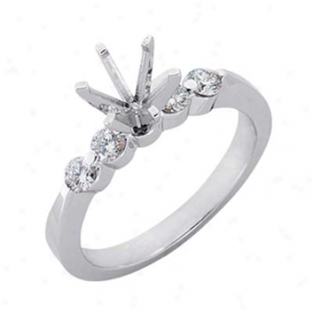 14k White Round 0.38 Ct Diamond Semi-mount Engagement Ring
