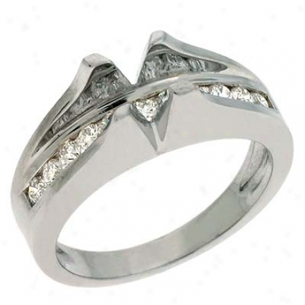 14k White Round 0.41 Ct Diamond Semi-mount Engagement Ring