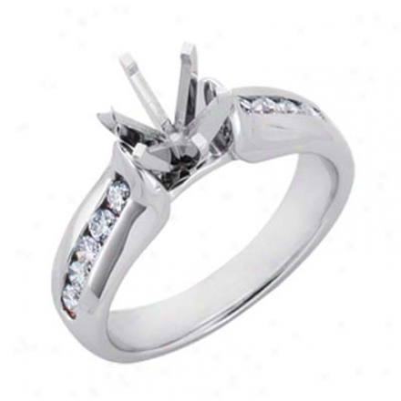 14k White Round 0.42 Ct Diamond Semi-mount Engagement Ring