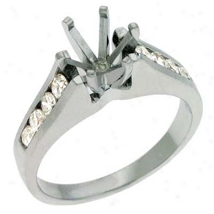 14k White Round 0.46 Ct Diamond Semi-mount Engagement Ring