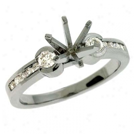 14k White Round 0.56 Ct Brilliant Semi-mounr Engagement Ring