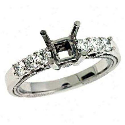 14k White Round 0.57 Ct Diamond Engagement Ring
