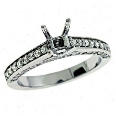 14k White Round 0.58 Ct Diamond Engagement Ring