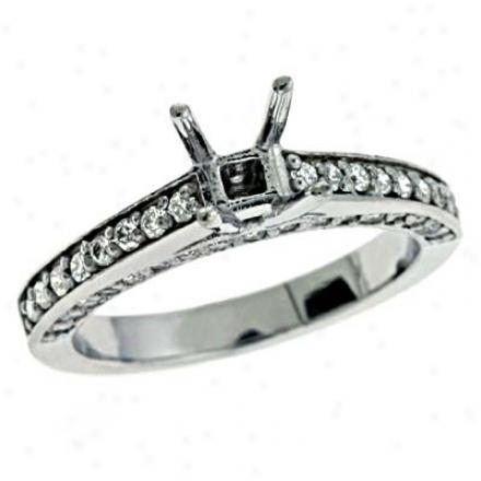 14k White Round 0.58 Ct Diamond Engagement Ring