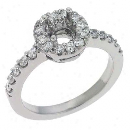 14k White Round 0.59 Ct Diamond Engagement Ring