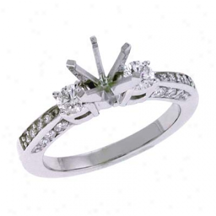 14k White All over 0.63 Ct Diamond Semi-mount Engagement Ring