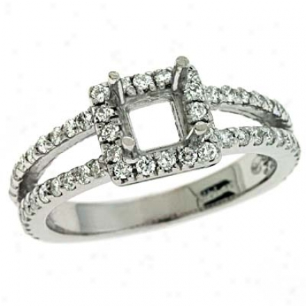 14k White Round 0.64 Ct Diamond Engagememt Ring