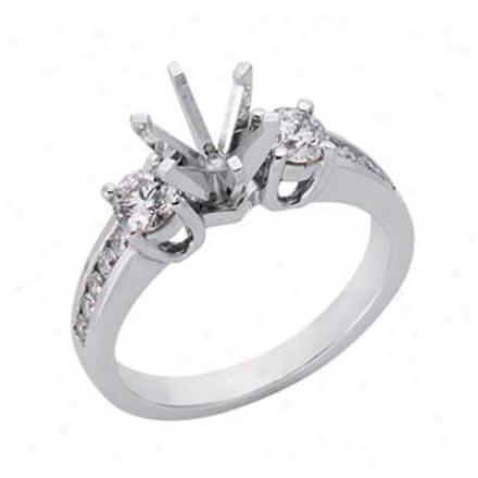 14k White Round 0.66 Ct Diamond Semi-mount Engatement Ring