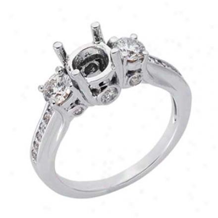 14k Whits Round 0.71 Ct Diamond Semi-mount Engagement Rin