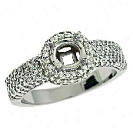 14k Wbite Round 0.78 Ct Diamond Semi-mount Engagement Ring