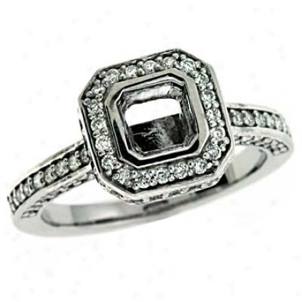 14k White Round 0.82 Ct Diamond Engagement Ring