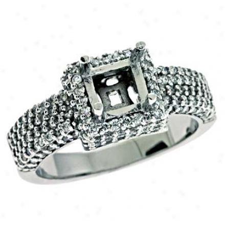 14k White Sur~ 0.82 Ct Diamond Semi-mount Engagement Clique